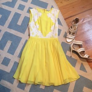 """Ted Baker """"Vember"""" yellow dress with white lace"""